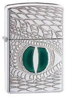 Zippo Regular Dragon Eye Chrome Windproof Refillable Cigarette Petrol Lighter