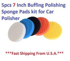 5Pcs 7inch Buffing Sponge Polishing Pad Kit Waxing Car Auto Polisher Use