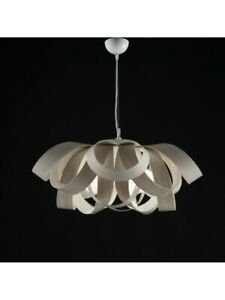 Suspended Lights Modern Design Metal and Wood White/Grey