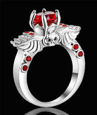 Size 7 Skull Red Ruby CZ Wedding Ring 18KT White Gold Filled Party jewelry