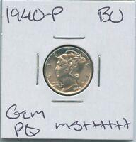1940-P Mercury Dime Uncirculated US Mint PQ Silver Coin Gem BU MS++++++