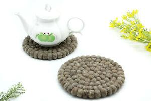 Set of 3 - 17 CM Felted Brown Round Trivet - Handmade Ball Trivet - From Nepal