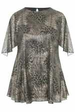 Women's PLUS SIZE 24 Metallic top BLOUSE Black & Silver ANIMAL PRINT new long