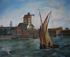 Yacht Leaving the Harbour Marine Landscape Oil Painting Erik Harvey c1970s