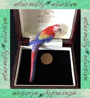 Red Macaw Parrot Bird Statement Hand Painted Brooch Pin Vintage Signed ST THOMAS