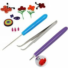 3pcs Paper DIY Set Quilling Paper Tools Tweezer Needle Pins Slotted Pen Tool Kit