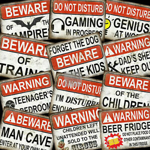 Warning / Beware Retro Funny Metal Signs Home Decor Mancave Home Pub Shed Gift