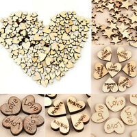 100x/SET Wood Rustic Wooden Love Heart Wedding Table Scatter Decoration Crafts