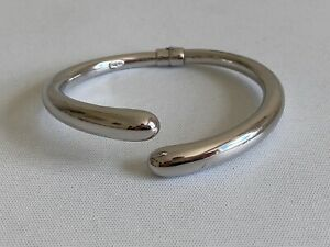 Rhodium Plated  Italian Sterling Silver Open Cross Over  Hollow Hinged Bangle