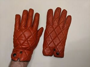 Mens SUITSUPPLY GLOVE LEATHER RUST with cashmere inside XL