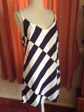 Navy/Ivory Viscose Spaghetti Strap Dress, New Look UK 14