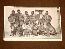 Rara stampa dei primi del 1900 Indiani Tiahuanaco Tiwanaku (Bolivia, Perù, Cile)