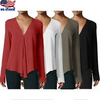 Sexy Women Loose Long Sleeve Chiffon V-Neck OL Blouse Tee Summer Tops Plus Size