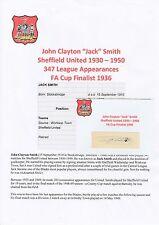 JACK SMITH SHEFFIELD UNITED 1930-1950 RARE ORIGINAL HAND SIGNED CUTTING/CARD