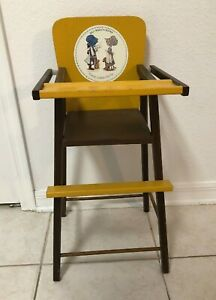 "Vintage 70's Holly Hobbie Doll Size High Chair 25"" Tall Fits 18"" Hollie Hobby"