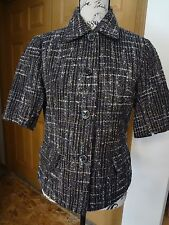 Womens Coldwater Creek Size 8 Short Sleeve Boucle Tweed Blazer Jacket