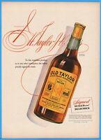 1944 OLD TAYLOR Distillery Frankfort KY Bourbon Whiskey Bottle Art WWII Era Ad