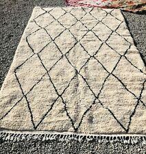 Moroccan Original Rug Handmade Beni Ourain Berber carpet 5ft x 8ft2inch)