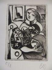 Signierte Original Radierung Surrealismus Dada lesende Frau