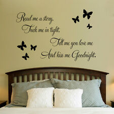 Butterfly Kiss Me Goodnight Vinyl Wall Quotes Lettering Baby Kids Nursery Room
