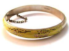 Vintage Siam Sterling Silver Yellow Niello Enamel Dancer Bracelet