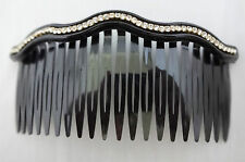 Large Hair Comb Wavy One Row Clear Rhinestones 4.25 Inches Black Plastic