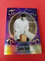BABE RUTH GAME USED BAT CARD #d2/7 LEAF METAL REFRACTOR #SB29 NEW YORK YANKEES