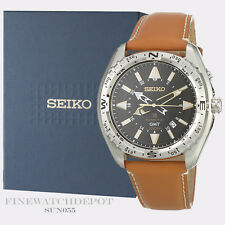 Authentic Seiko Men's Prospex Chronograph Leather Strap Watch SUN055