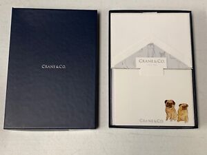 Crane & Co. Dogs Pugs Note on pearl white lettra 10 notes & envelopes NEW CF1079