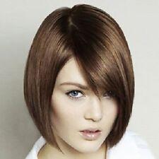 100% Real Hair! Bob Style Straight Trendy Brown Short Side Bang Women's Wig
