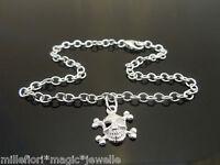 "3mm Sterling Silver Bracelet Or Ankle Chain Anklet Skull Charm 7"" 8"" 9"" 10"" 11"""
