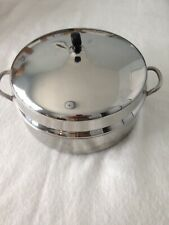 "NEW-Vintage Faberware stainless steel roasting pot w lid 6 5/8"" H x 12"""