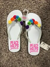 Nwt Justice Girl's Size 8/9 Flip Flips