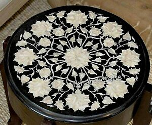Mother of Pearl Inlay Coffee Table Top Round Marble Patio End table 14 Inches