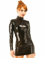 Honour Women's Slinky Dress in Black Latex Rubber Midnight Style Roleplay Outfit