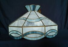 Vintage Blue Slag Glass Lamp Fixture 8 Panel