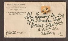 """Canada 1886 1c yellow 35i """"The Grande Lodge of Quebec"""" circular, unsealed, encl."""