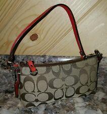 COACH Signature PARK VERMILLION Convertible Wristlet Purse Mini Bag