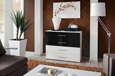 SB GO 6 - White and Black 4 drawer dresser / sideboard cabinet