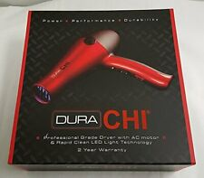 NEW! DURA CHI PROFESSIONAL HAIR DRYER WITH AC MOTOR AND LED LIGHT TECHNOLOGY RED