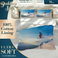 Snow Skiing Hobby Sports Blue Doona Cover Sets with 2x Matching Pillowcases