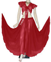 TMS MAROON Full Circle Skirt + Ruffle Top Belly Dance Costume Gypsy JUPE HAUT
