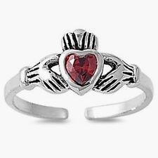 Silver Claddagh Toe Ring Sterling Silver 925 Best Adjustable Jewelry Garnet CZ