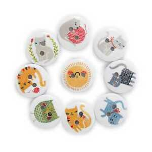 50pcs Cat Printing Wood Buttons for Scrapbooking Sewing Craft Making Decor 15mm