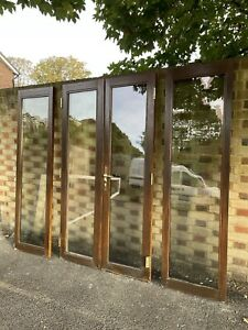 Modern French Double Glazed Wooden Inter-locking Double Doors With Side Panels
