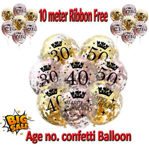 Rose Gold Happy Birthday Bunting Balloons 18/21st/30/40/50/60th Party Balloons