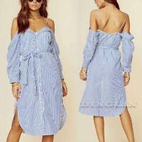 Women Beach Sundress Strappy Off Shoulder Split Striped Evening Party Dress CHK