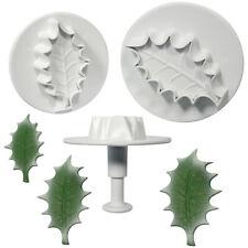 PME 3 Set Large VEINED HOLLY LEAF Plastic Icing Plunger Cutters Sugarcraft