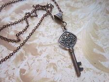 Key necklace Antique copper tone Charm Pendant Steampunk Vintage fancy gift..
