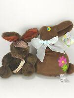 Lot of 2 Brown Easter Chocolate Bunny Rabbit Plush Stuffed Animal Flowers Bow